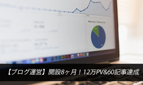 【ブログ運営】開設8ヶ月!12万PV&60記事達成