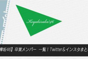 【欅坂46】卒業メンバー一覧!Twitter&インスタまとめ
